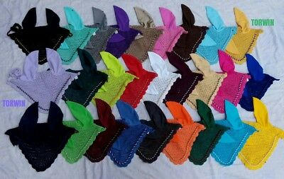 Horse Fly Veil Ear Bonnet/net Breathable Cotton 27 Colors Free Shipping*