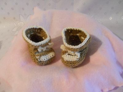 "Doll Brown/Cream Slipper Boots   to fit 20"" (51 cm) size"