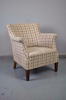 Mid Century Danish Retro Tub Lounge Armchair in Wool Upholstery 1950s