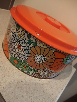 LARGE 28cm VINTAGE WILLOW AUSTRALIA  ~~ CAKE TIN~~BRIGHT ORANGE & FLORALS