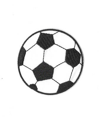 SOCCER BALL BLACK WHITE IRON ON / SEW ON PATCH Embroidered Badge SPORT PT277
