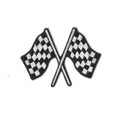 CHEQUERED FLAG IRON ON / SEW ON PATCH Embroidered Badge MOTOR RACING CARS PT278