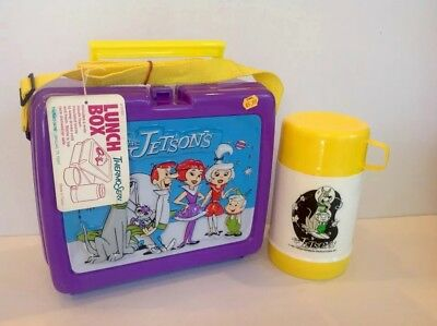 VINTAGE 1987 THE JETSONS 3-D  PLASTIC LUNCHBOX W/Thermos, Strap, & Hang Tag