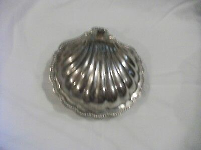 Fine Vintage SILVER PLATED Clam shell butter/caviar/jam dish with glass liner