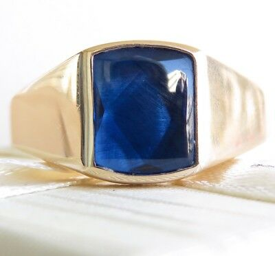 Huge Genuine 4.00ct Blue Sapphire Men's Ring 9K Solid Yellow Gold