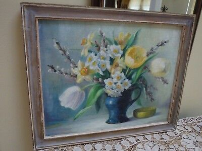 Vintage Still Life Oil Painting Of Floral Delights On Arist Board~ Signed