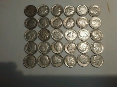 1946-1964 Roosevelt Dimes, Lot Of 30. 90% Silver Inv