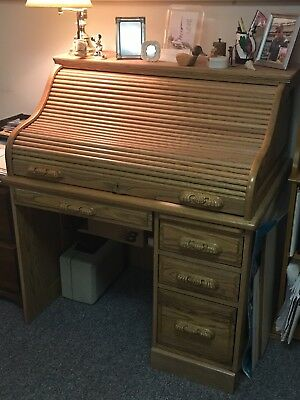 Roll Top Desk -- S Curve Solid Oak Paneled