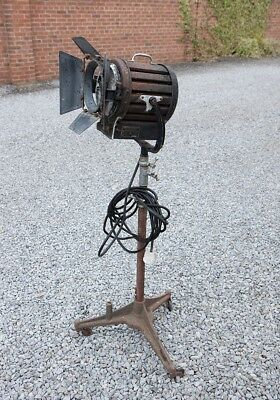 Mole Richardson vintage theatre or stage lamp on stand.
