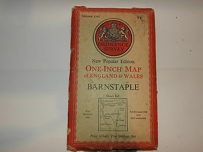 OS Map 163 BARNSTAPLE ON CLOTH  ONE INCH  ORDNANCE SURVEY MAP VINTAGE