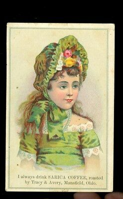 trade card-Sarica Coffee-Tracy & Avery-Mansfield, Ohio-litle girl in green