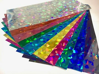 """Holographic Large Angle Sign Vinyl Sample Pack, 12 Sheets, 8"""" x 12 Inch"""