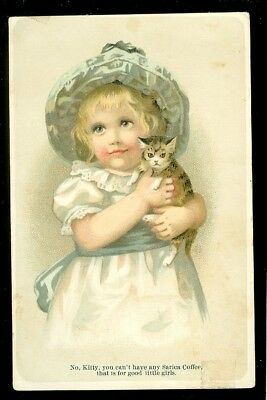 trade card-Sarica Coffee-litle girl with her cat-coffee for litle girls, not cat