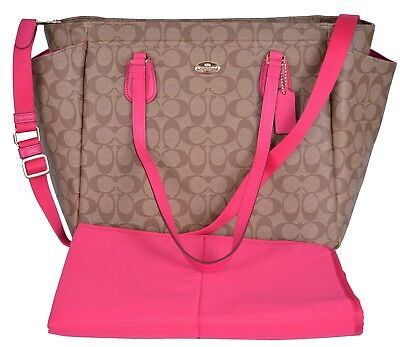 Signature multifunctional coach diaper bag pink/khaki