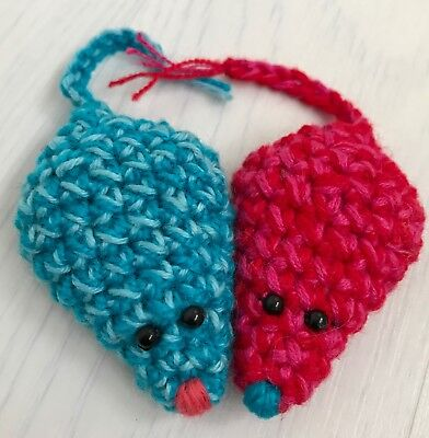 Pair of 2 x Cute Mouse Mice Cat Toy with Catnip Pet Kitten Crochet Handmade gift