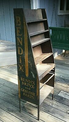 Antique Bendix automotive parts display cabinet