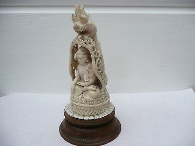 Superb Antique Chinese Carved Bovine Bone Buddha & Dragon Head On Wooden Base