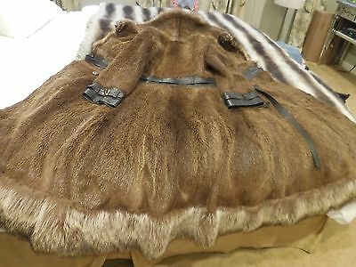 Beautiful Vintage Nutria And Raccoon Coat Trimmed In Brown Leather Sz X/s/small