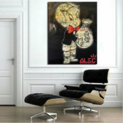 Alec Monopoly Richie Rich Oil Painting on Canvas art Wall Decor Airplane 28 by36