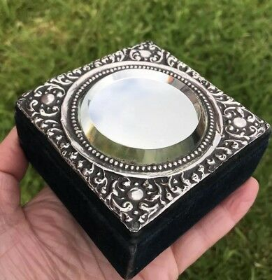 Antique 1904 Mirror Top Repousse Sterling Silver & Velvet Trinket /jewellery Box