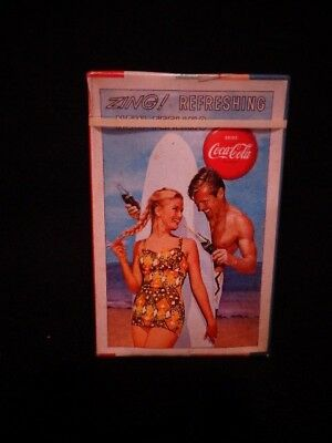 Vintage Coke playing cards surfer couple, sealed w/stamp