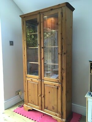 Ducal Varnished Pine Display Cabinet with Interior Light & Base Cupboard