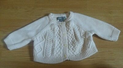 Baby Gap Cable Knit Cream Off-white Beige Cardigan Sweater - size 0-3 months