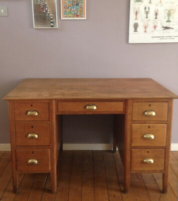 Edwardian oak office desk with drawers, cup handles, vintage, Haberdashery.