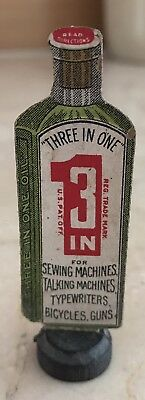 Antique 3 In 1 Oil Advertising Sign Cabinet Counter Display Green Rare