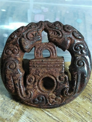 Old China Hand-carved jade belt buckle worn aristocratic art collection  a46