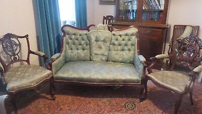 Antique French louis xv salon style Sofa and two Chairs. Pale Green Brocade.
