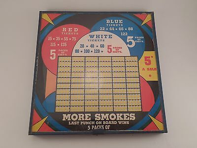 Vtg More Smokes Bright Colored Punch Board Trade Gambling Cigarette Card Ad