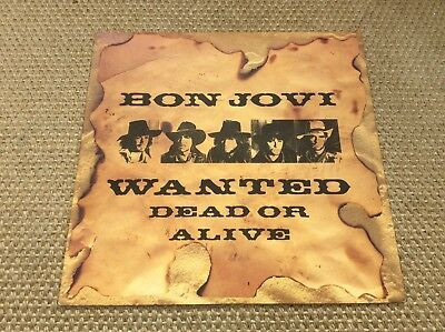 "Bon Jovi. Wanted Dead Or Alive. 12"" Single. Excellent Condition."
