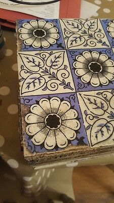 minton hollins & co tiles ,Victorian, antique , blue white tiles ,1800s