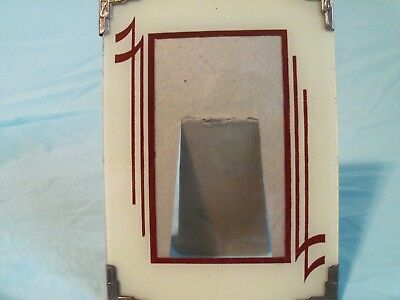 """Vintage Glass Art Deco Reverse Painted 5 X 7"""" Picture Frame"""
