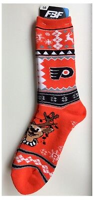 Philadelphia Flyers NHL Ice Hockey Reindeer Ugly Christmas Design Socks