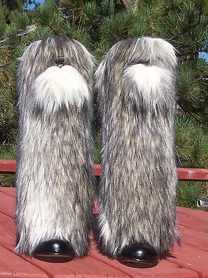 NEW Dynamite Faux Fur Leg Muffs with Poms boot-covers leggings warmers brown NWT