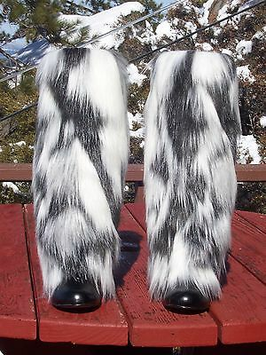 NEW Stunning Faux Fur Leg Muffs boot-covers leggings black warmers boots white