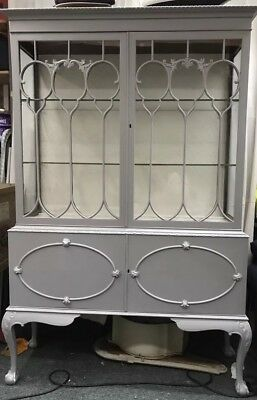 Antique Vintage Painted Cupboard Display Cabinet Vitrine French Gustavian