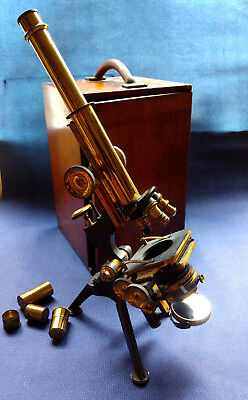 Cased Antique Brass Watson Microscope By Watson & Son, No 5984