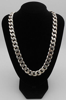 Mens MASSIVE 213 Grams Solid Sterling 925 Silver Curb Chain