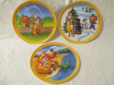 Lot 3 McDonalds Plates Yellow Seasons Winter Spring Summer 10 inches Melamine
