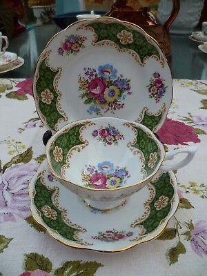 Lovely English China Trio Wide Tea Cup Saucer Plate Green Floral
