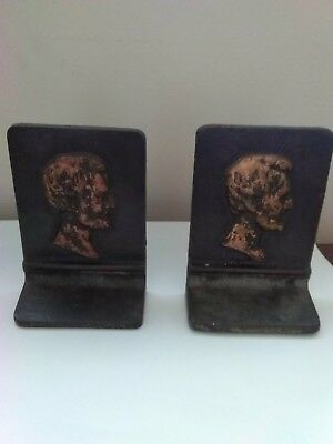Pr Vtg Cast Iron President Abraham Lincoln  High Relief Side Profile Book Ends