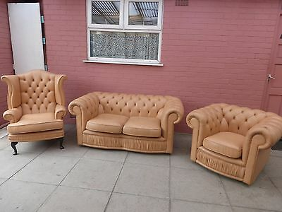 A Magnolia/Cream Leather Chesterfield Three Piece Suite DELIVERY AVAILABLE