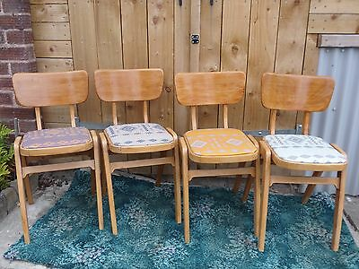 Vintage MidCentury Industrial Wood Stacking School Cafe Dining Chairs
