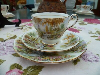 Vintage Royal Standard English China Trio Tea Cup Saucer The Old Mill Stream