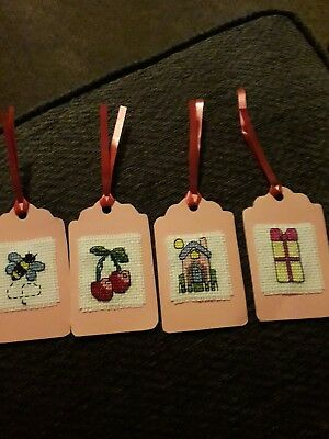 set of 4 cross stitched gift tags