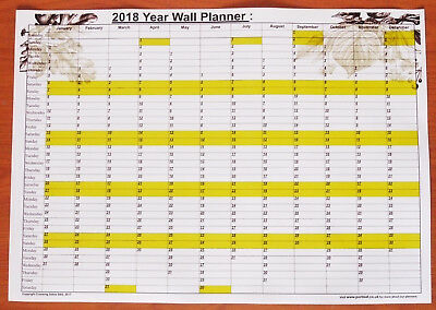 A3 Size 2018 Annual Year Wall Planner -great for planning holidays birthdays etc