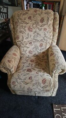 beige floral reclining chair